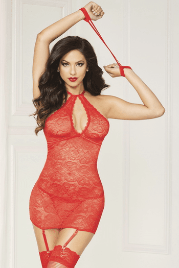 Forever Flirty Lace Chemise & Thong Set