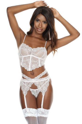 Forever Yours White Lace Bra, Garterbelt & Panty