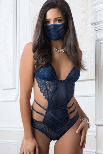 French Blue Lace Teddy & Face Mask Set