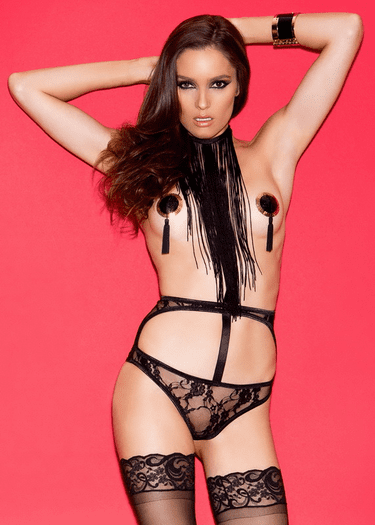 Fringe With Benefits Black Open Bust Teddy