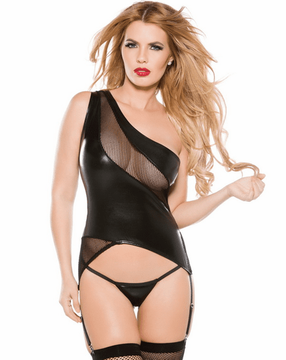 Fun For All Sexy Faux Leather Bustier & Thong Set
