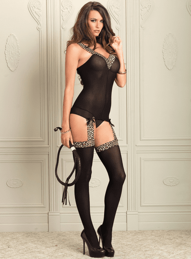 Get Lucky Leopard Suspender Bodystocking