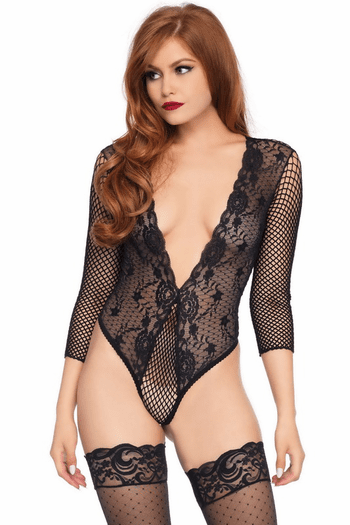Give It To Me Right Fishnet & Lace Teddy