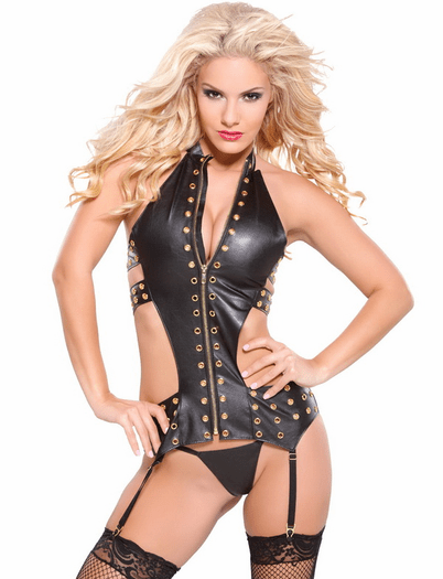 Gold Collection Bite Me Faux Leather Bustier