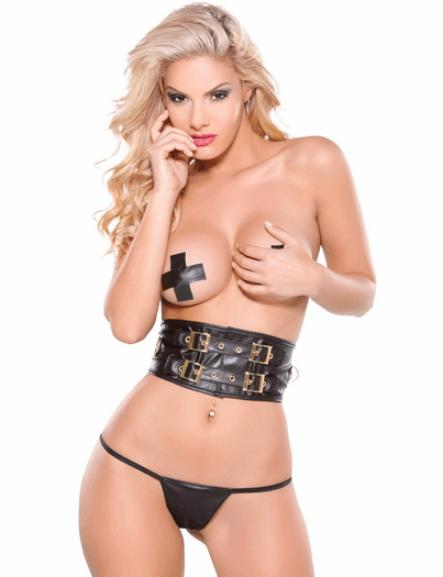 Gold Collection Erotic Charm Pasties, Waist Cincher, & Thong Set