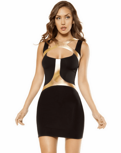 Golden Strap Holster Mini Dress