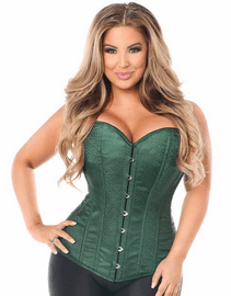 Gorgeous Green Brocade Sexy Strapless Corset