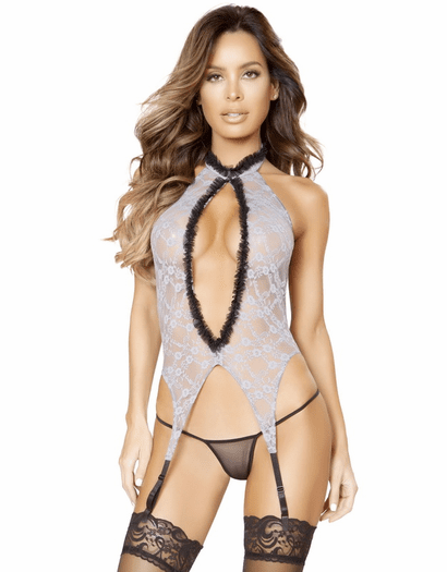 Gorgeous Grey Lace Bustier & Thong Set