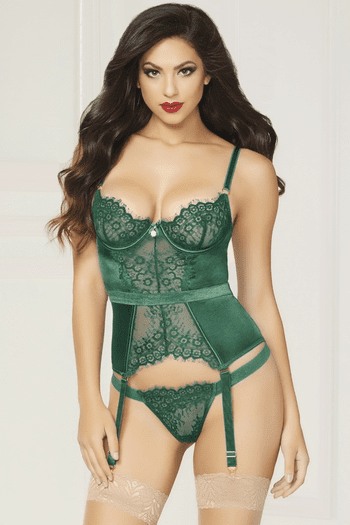Gorgeously Green Bustier & Thong Set