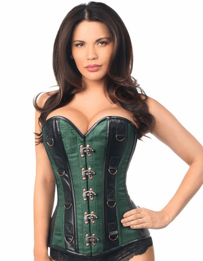 Green Brocade Faux Leather Buckle Corset