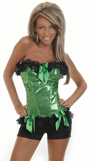 Green Burlesque Underwire Corset