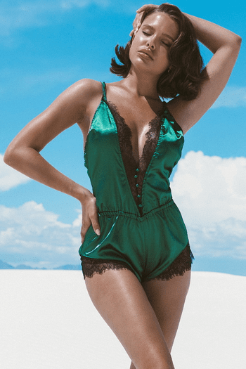 Green Elegant Lace and Satin Romper