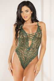 Green Faux Lace Up Lace Teddy