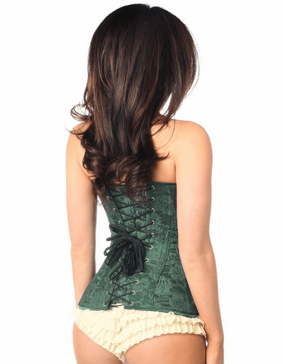 Green Lace Full Bust Strapless Corset