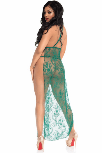 Green Lace Open Side Gown