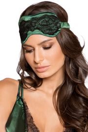 Green Satin and Lace Sleep Eye Mask