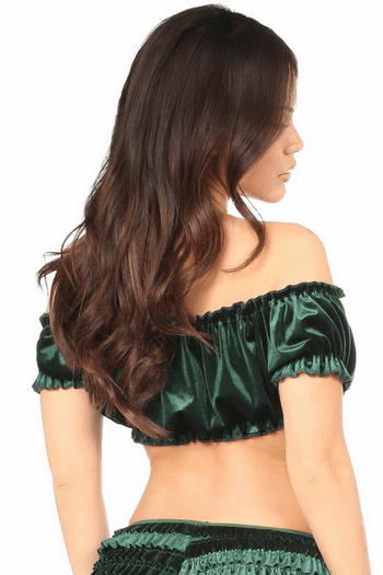 Green Velvet Peasant Top