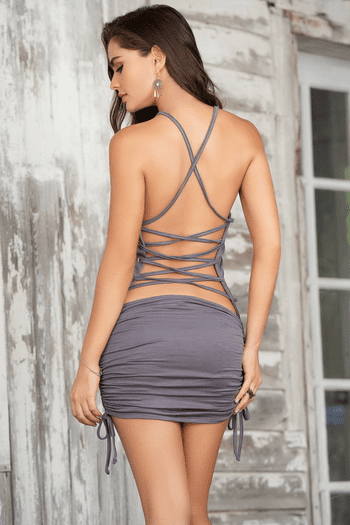 Grey Strappy Mini Dress