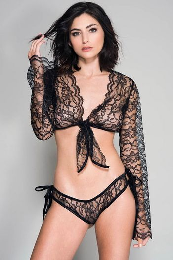 Gwen's Black Lace Long Sleeved Cami & Panty