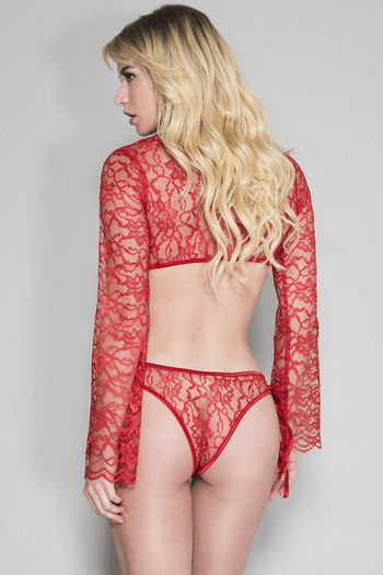 Gwen's Red Lace Long Sleeved Cami & Panty