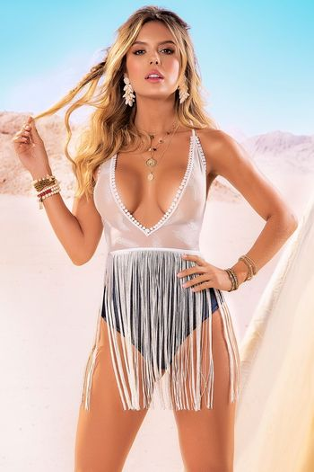 Gypsy Festival Sheer Mesh Teddy & Fringe Skirt