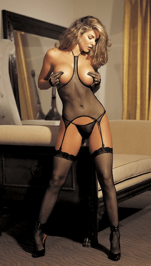 H.O.T. Fishnet Open Bust Cami, Thong, & Stockings Set