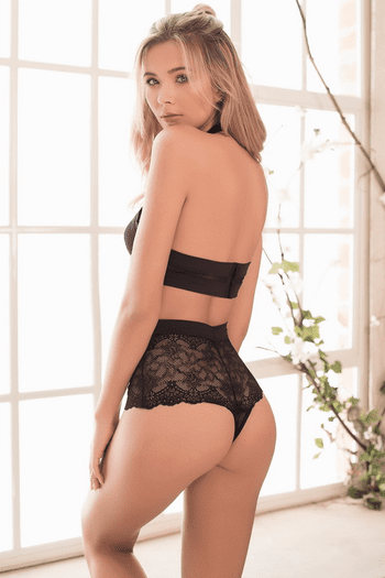 Halter Lace Cut Out Teddy