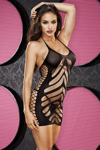 Haltered Fishnet Dress
