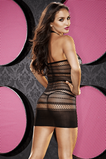 Haltered Fishnet Mini Dress