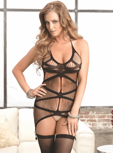 Harp String Hottie Sexy Garter Chemise & Stockings Set