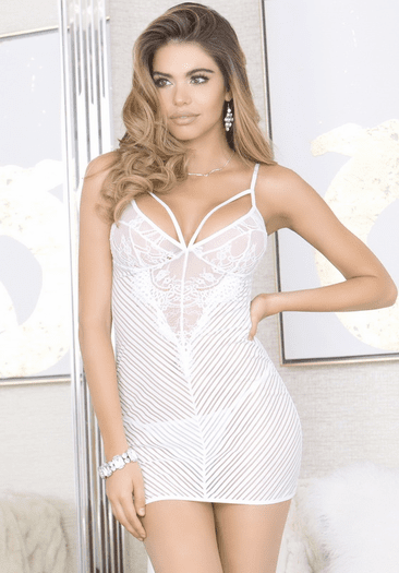 Head Over Heels Love Bridal White Chemise & Thong Set