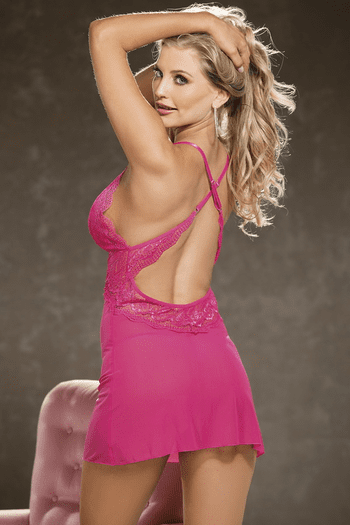 Heart Lace and Mesh Chemise