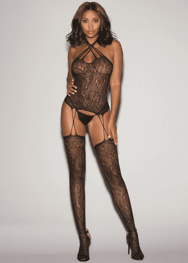 Heartless Fishnet Lace Bodystocking