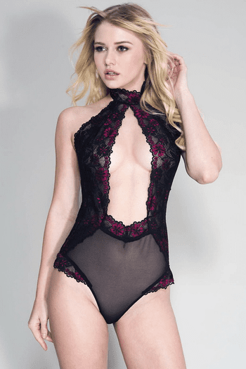 High Neck Open Front Keyhole Flower Lace Teddy