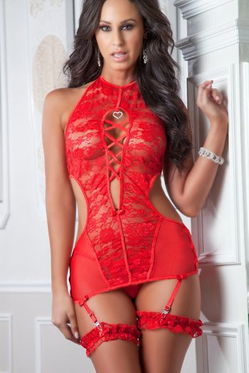 High-Neck Plunging Gartered Chemise
