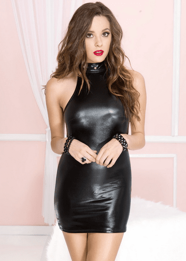 High Neck Wet Look Hot Mini Dress