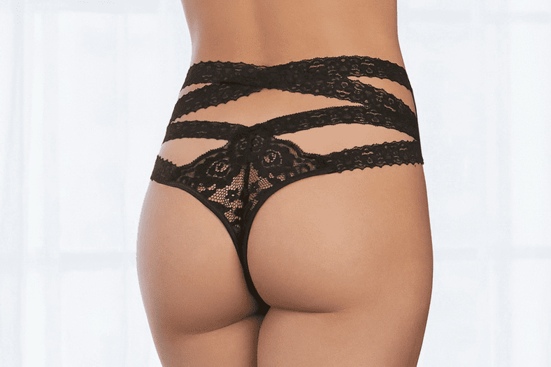 High-Waisted Lace Thong