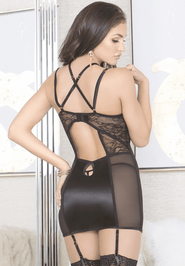 Hold Me Close Underwire Garter Chemise & Thong Set
