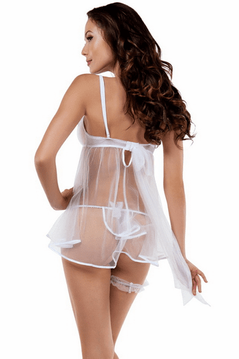 Honeymoon Glamour White Babydoll, Thong, & Garter Set