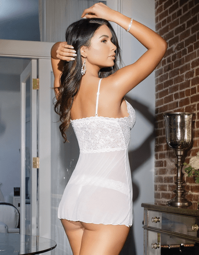 Honeymoon Hottie White Bridal Babydoll & Thong Set