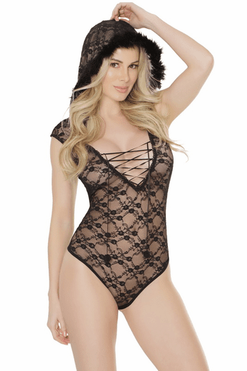 Hooded Lace Teddy