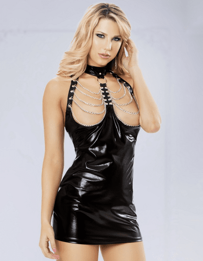 Hooked On You Wet Look Chemise & G-String Set