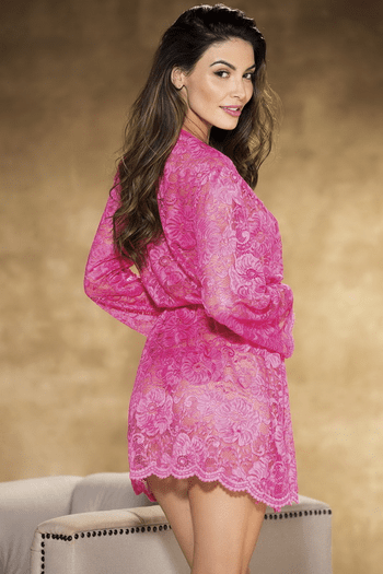 Hot Pink All Over Stretch Lace Robe
