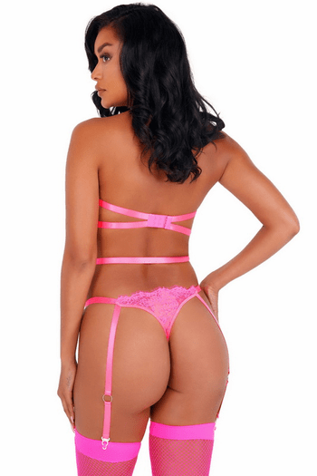 Hot Pink All Strapped Down Gartered Teddy