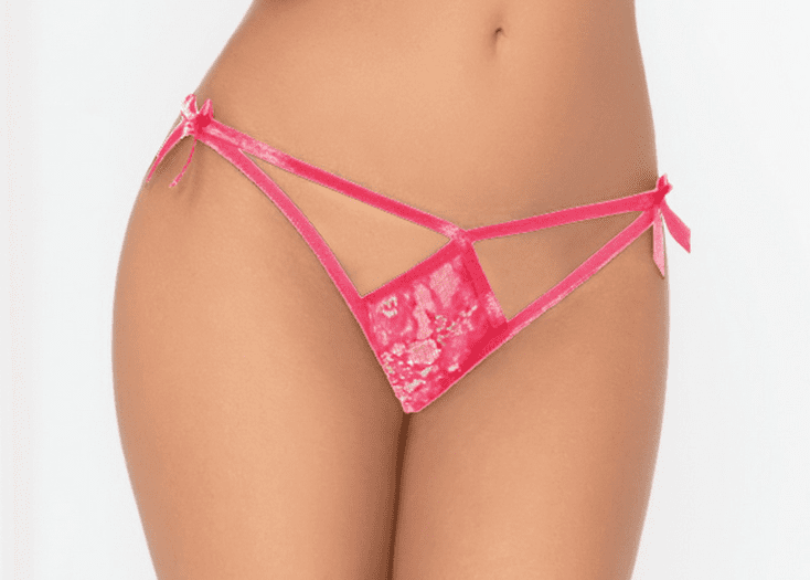 Hot Pink Galloon Lace Crotchless Panty