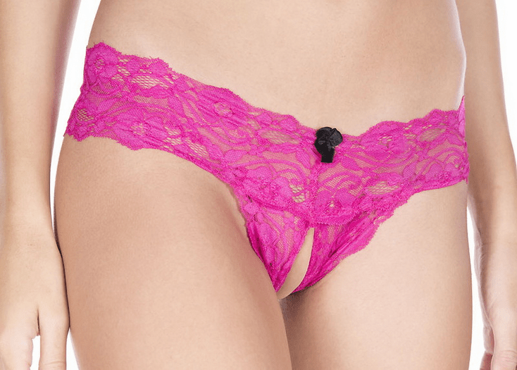 Hot Pink Lace Crotchless Thong