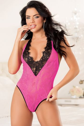 Hot Pink Plunging Lace Teddy