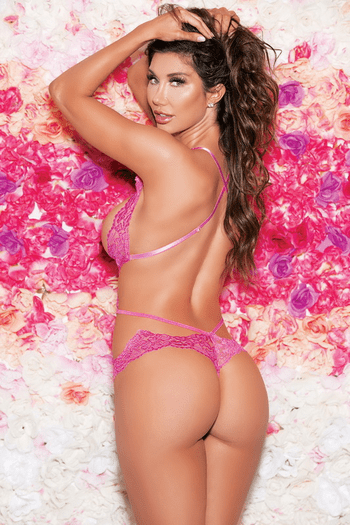 Hot Pink Scalloped Lace Open Bust Teddy
