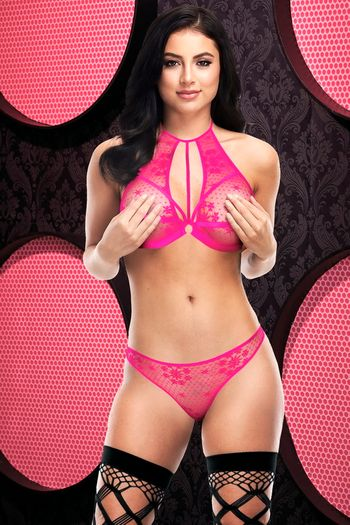 Hot Pink Sexy Strappy Lace Bra & Panty Set
