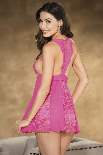 Hot Pink Stretch Lace & Stretch Net Babydoll
